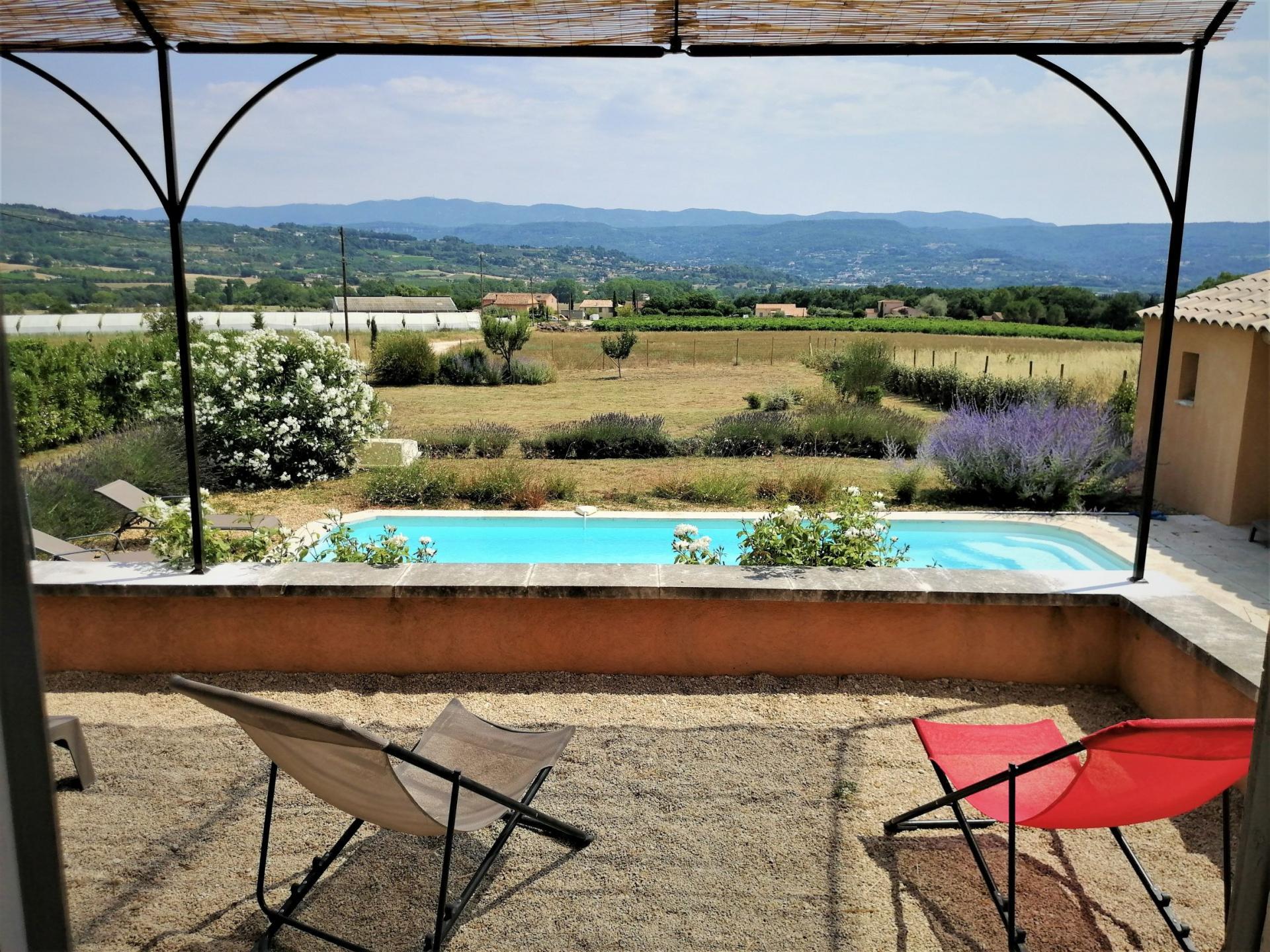 vue de la terrasse avec pergola